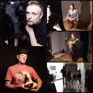 Photographer, Rankin, with some of the farmers he has photographed. Clockwise from top left Rankin with Kylie the calf from Yeo Valley, Ed Hamer of Chagfood, Alice Holden of Growing Communities, Kylie the Cow arriving at the studio, and Ian Tolhurst from Tolhurst Organic.