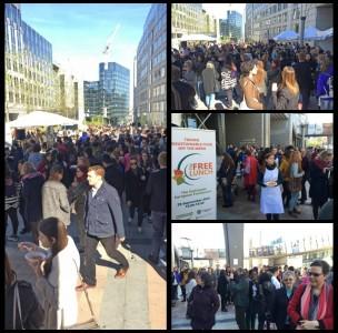 Huge crowds outside the EU Parliament